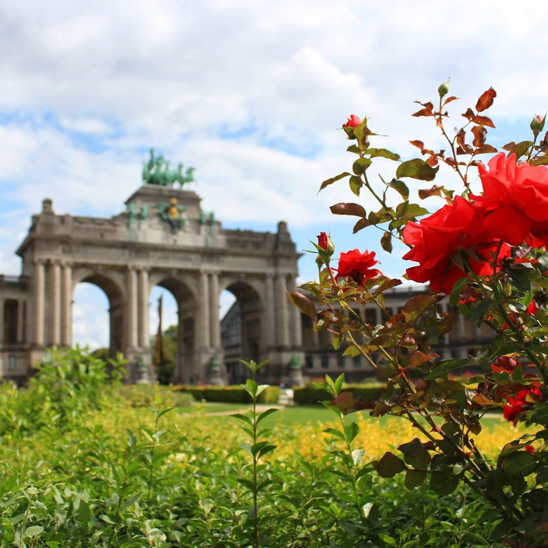 Brussel landmark met bloementuin